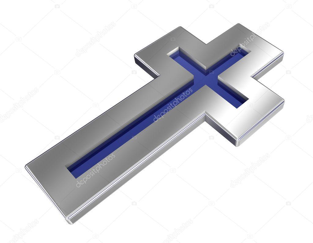 azul con cruz cristiana marco de plata — Fotos de Stock © ppart1 ...