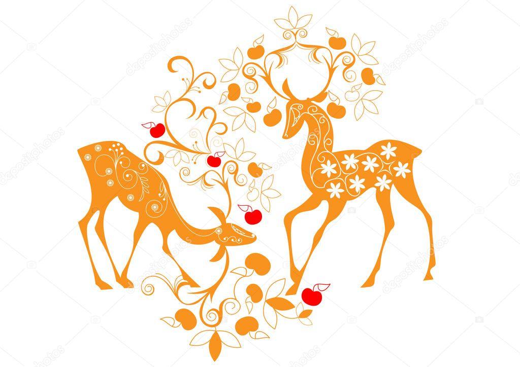 Deer and flowers