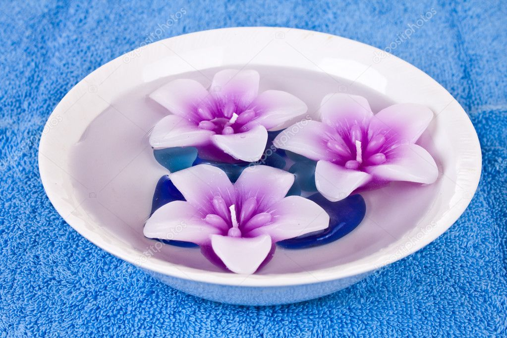 Flower candles in bowl of water