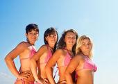 boldog lány bikini csoport