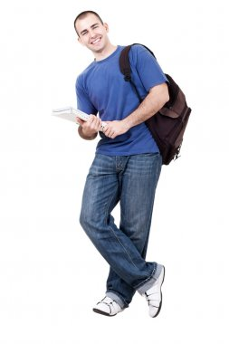 Male student carrying books on white