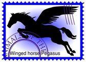 Fotografia timbro del vettore con il cavallo alato Pegaso