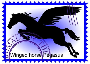 Vector stamp with winged horse Pegasus
