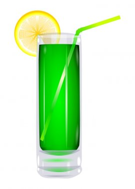 Cocktail in a glass with a lemon vector