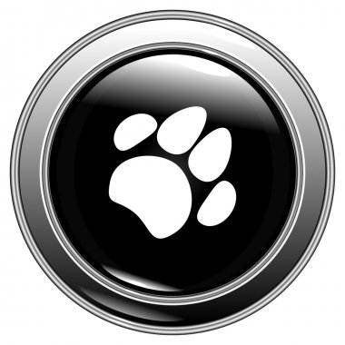 Paw button black vector
