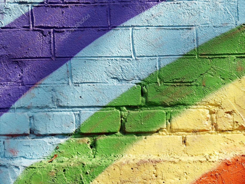 Rainbow brick wall — Stock Photo