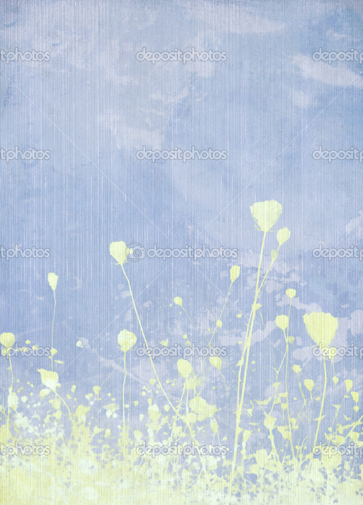 Meadow flower pale blue background