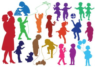 Set of multi-coloured silhouettes of children and mother and the baby, children play, dance, walk, give flowers, reflect stock vector