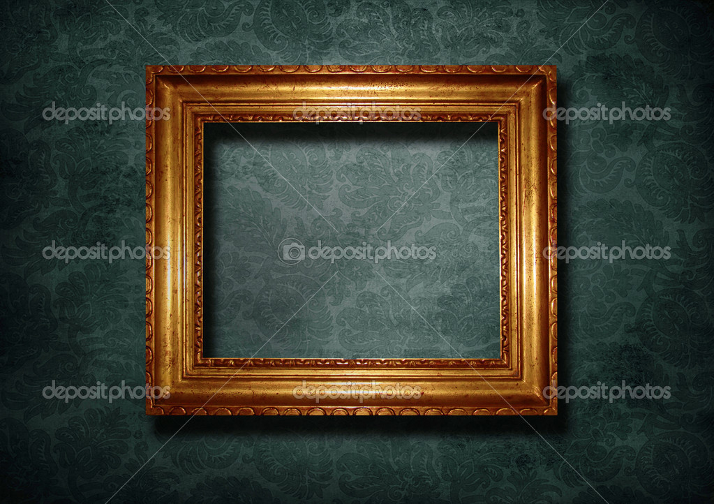 Cadre dor sur un fond d 39 cran bleu photographie for Cadre photo fond ecran