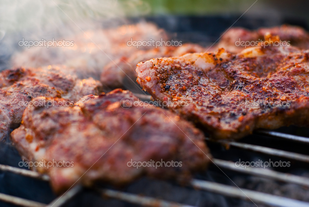 Roasted meat on the grill.
