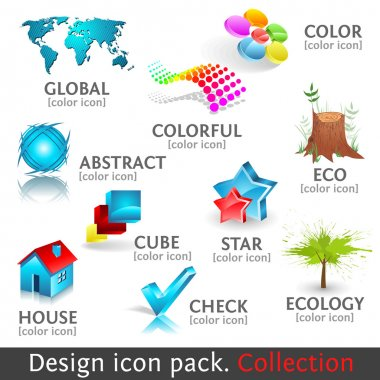 Design 3d color icon set. Collection
