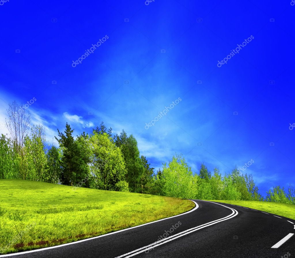 Mountain road and blue sky