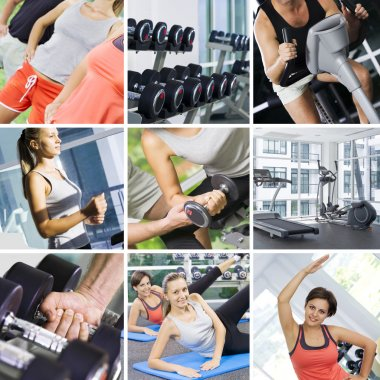 Fitness theme photo collage composed of few images stock vector