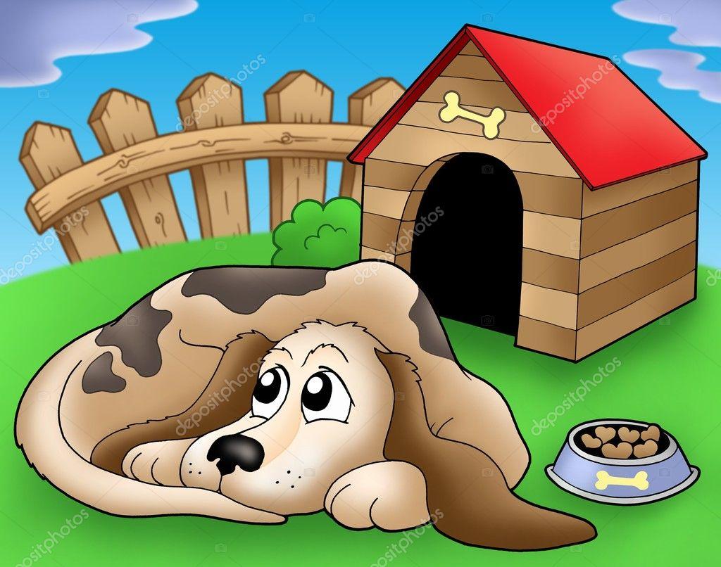 Картинка собака в конуре для детей