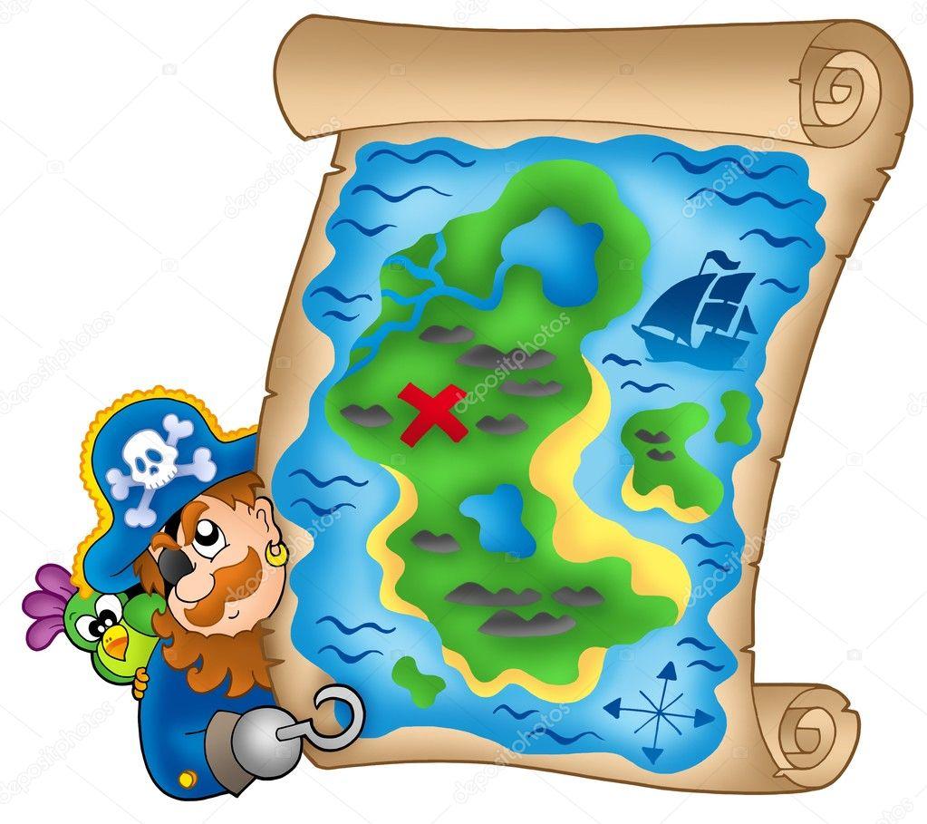 mapa del tesoro con piratas al acecho — Foto de stock © clairev #2942684