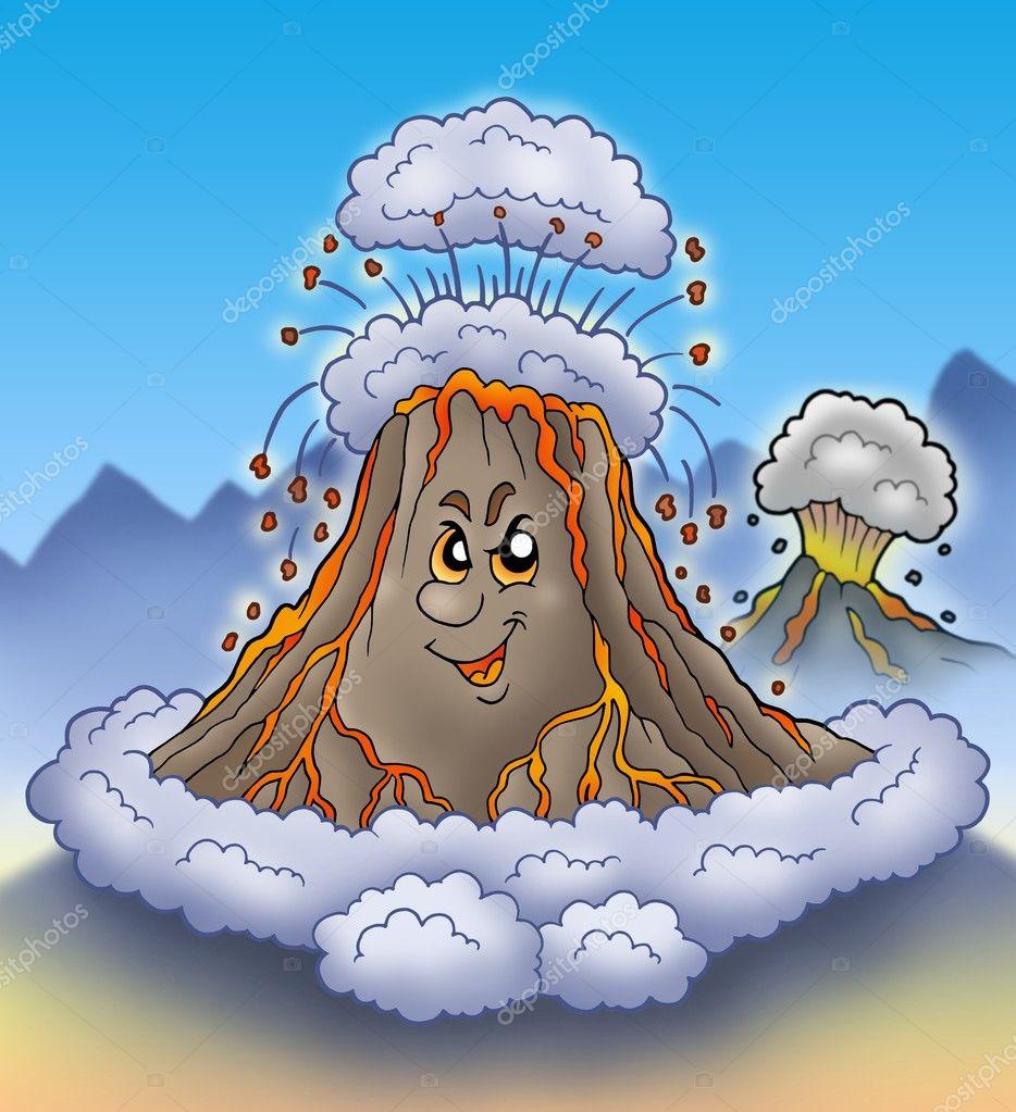 Volcan En éruption De Dessin Animé Photographie Clairev 3224901