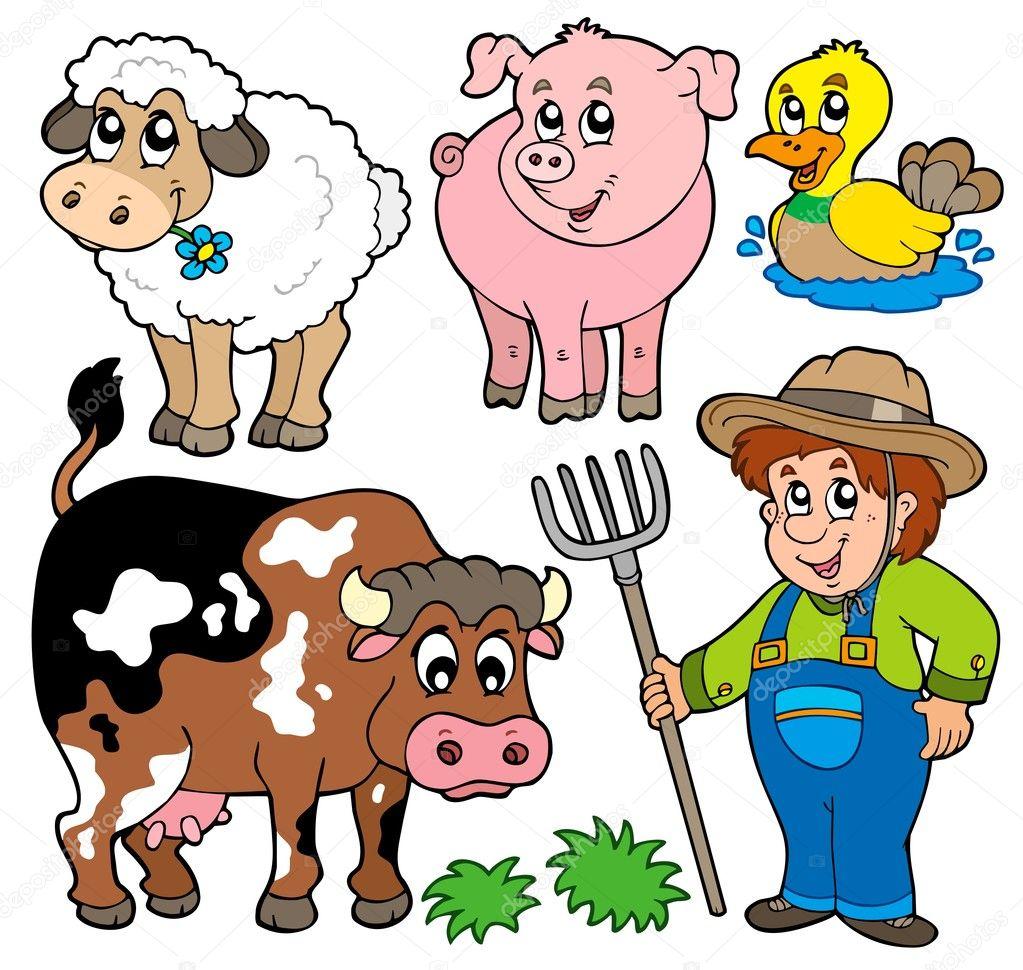 Coleção de desenhos animados fazenda — vetor stock
