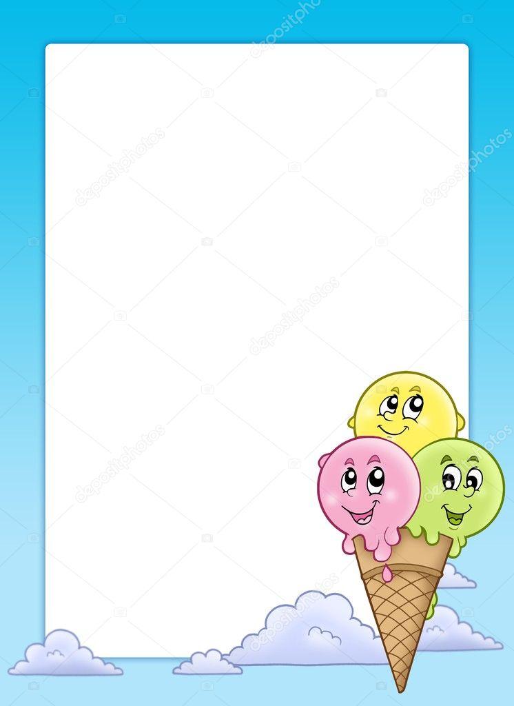 marco con helado de dibujos animados — Fotos de Stock © clairev #3576679