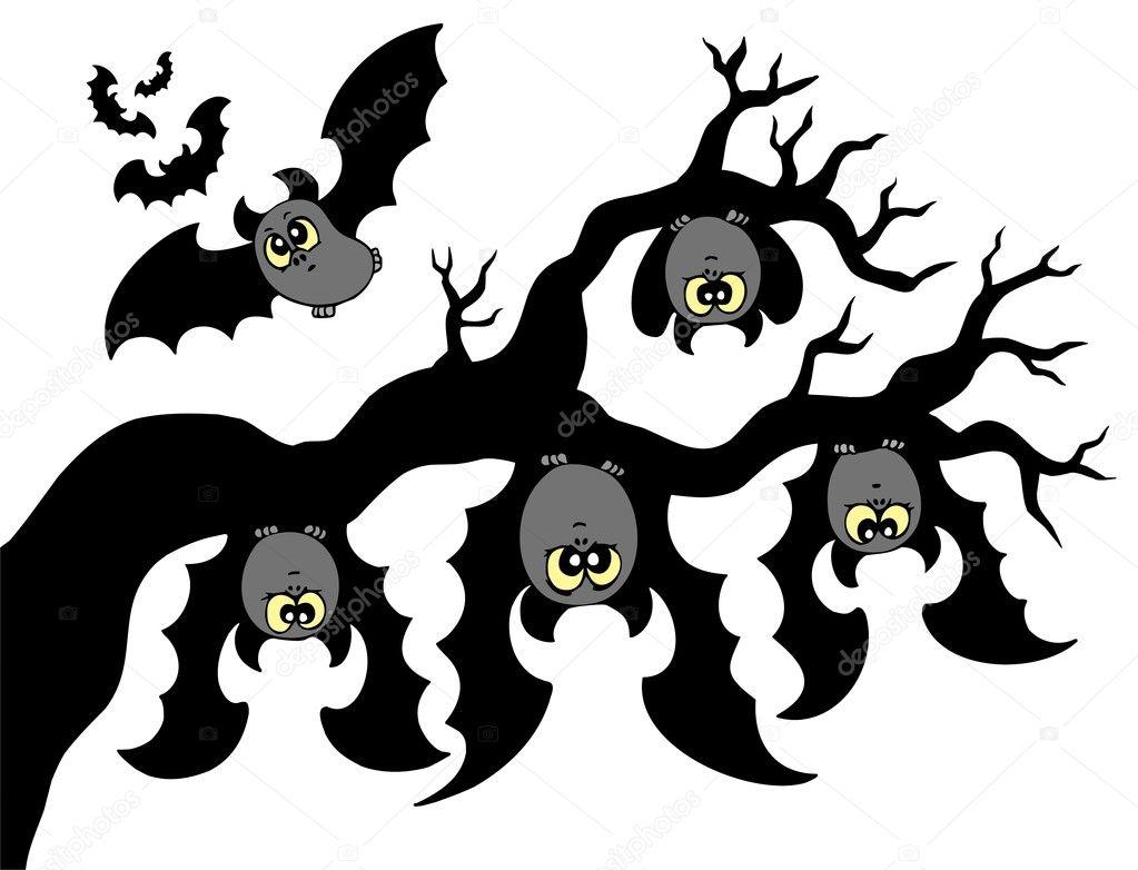 рисунок летучих мышей на дереве вверх ногами ждут яркие