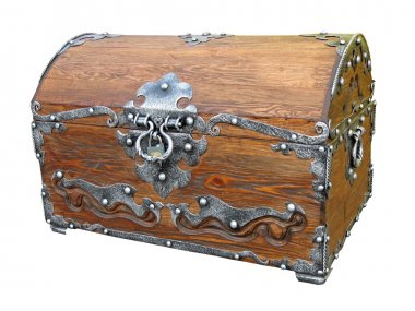 Piratical vintage wooden chest isolated.