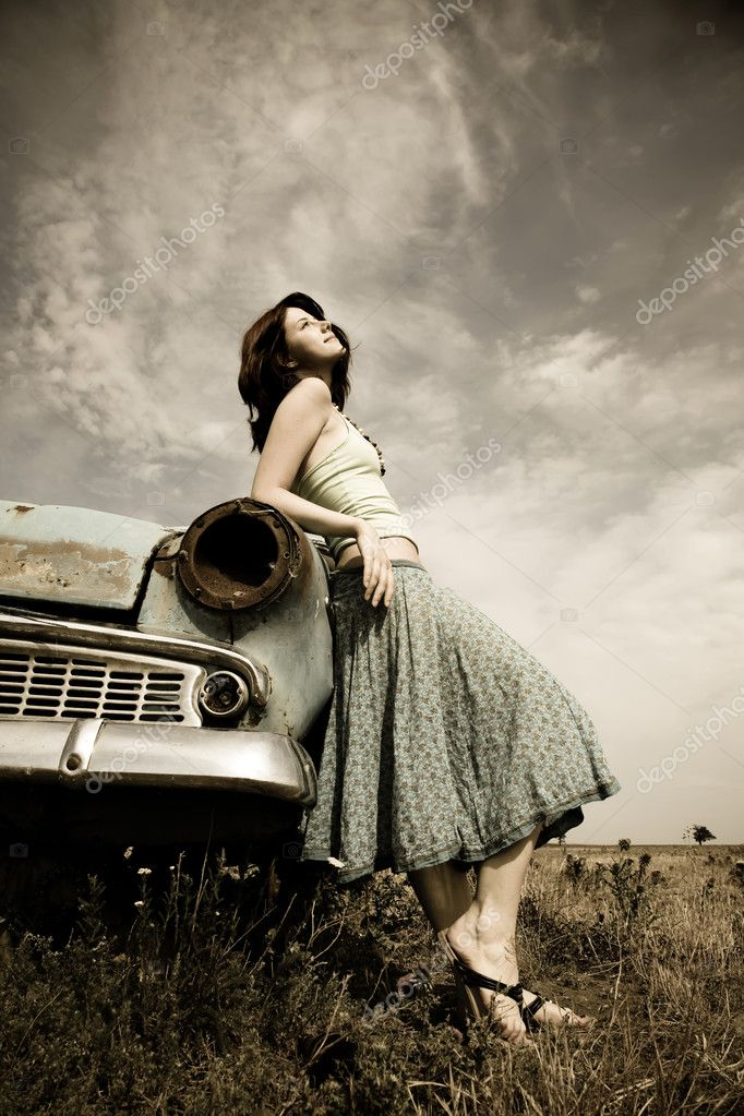 girl near old car photo in vintage style stock photo massonforstock 3583562. Black Bedroom Furniture Sets. Home Design Ideas