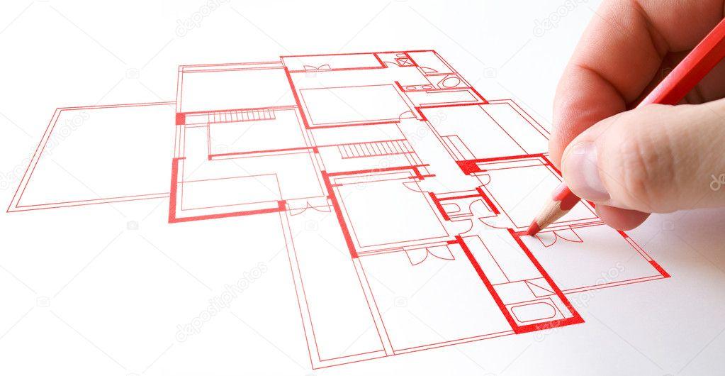 Haus Plan Zeichnen Mit Roten Bleistift Auf Papier U2014 Foto Von Jordygraph