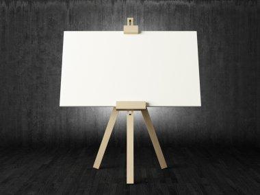Empty canvas in dark room
