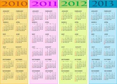 Calendar 2010, 2011, 2012, 2013