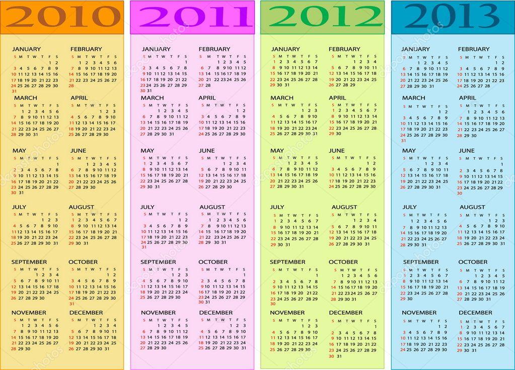 Calendar 2010, 2011, 2012, 2013 — Stock Vector © jelen80 #3109374