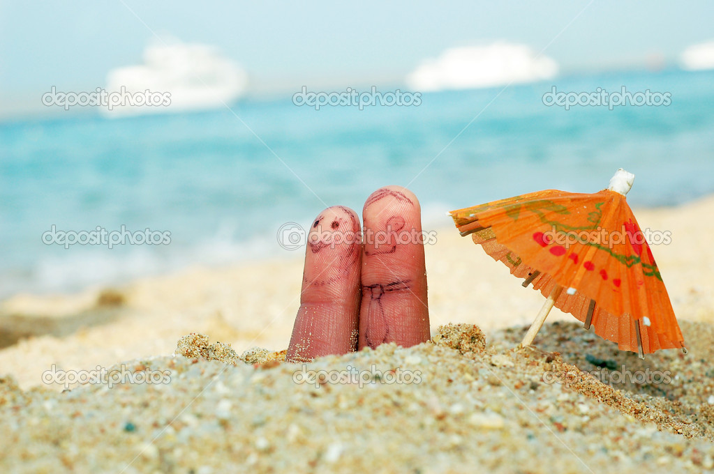 Funny finger family couple on vacation