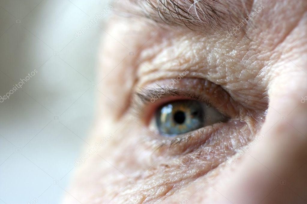 Close up on elderly ladies eye and wrink