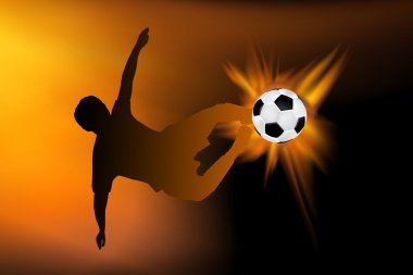 Football flaming flying kick