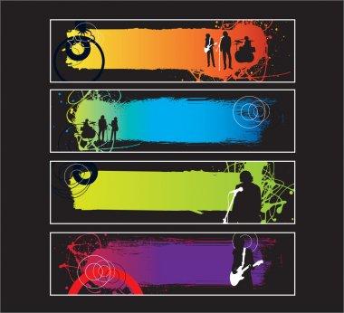 Rock music band website banner set
