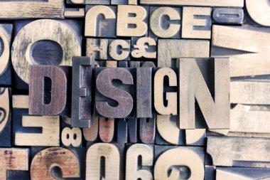 Design word on letterpress