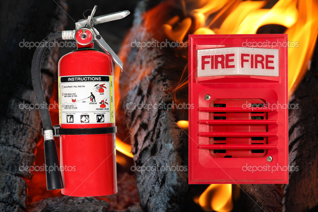 Horn alarm light and fire extinguisher