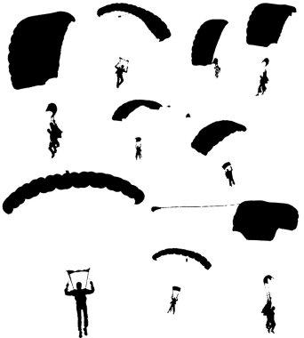 Black parachutes against a white background