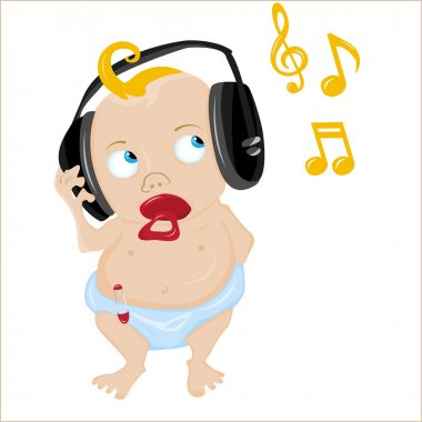 Cute Baby Listening to some music.
