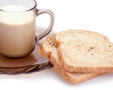 Bread and cup of milk (horizontal)