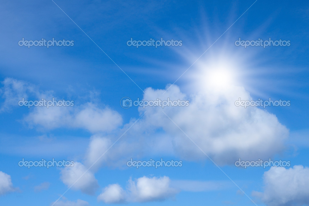 Blue sky with sun.