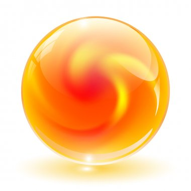 3D crystal, glass sphere vector.