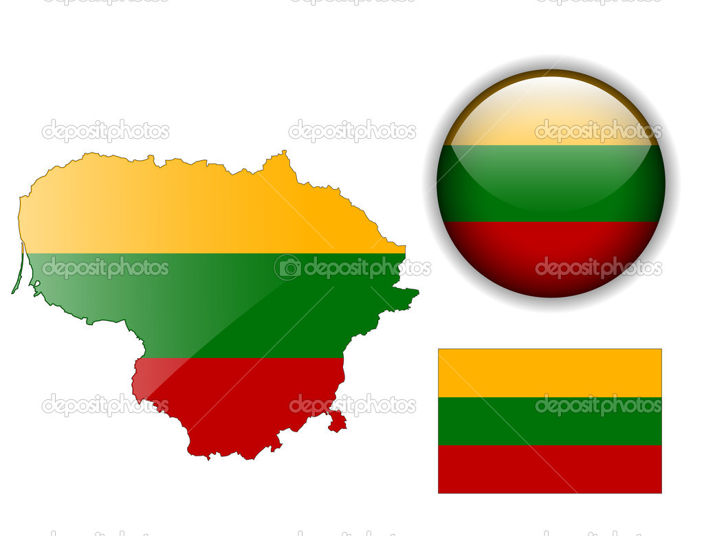 Lithuania Flag Map And Glossy Button Stock Vector Cobalt - Lithuania map vector