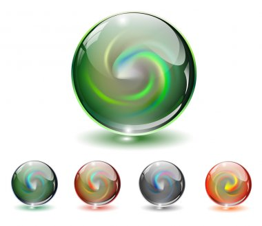 Crystal, glass sphere vector.