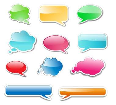 Messenger windows glossy web elements, icons, vector illustration. clip art vector