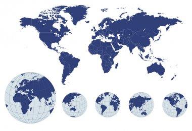 мировая карта с земными земными шарами