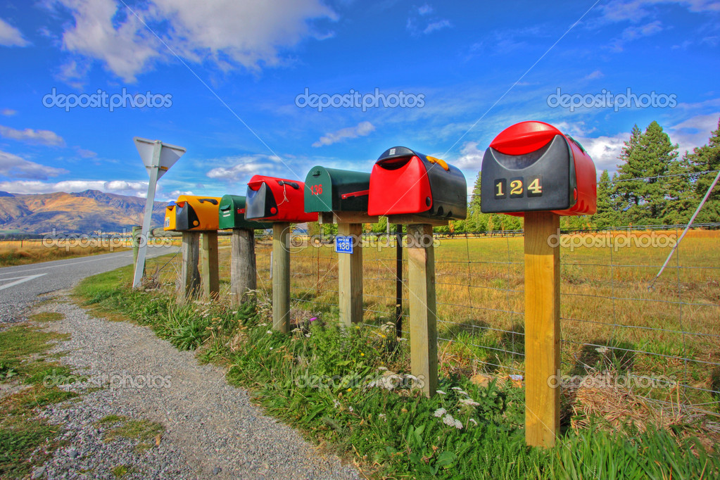 Colorful row of post boxes