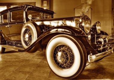 Vintage car in a showroom