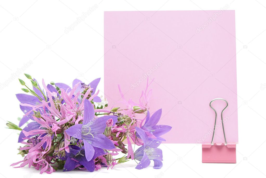Blank note with flowers