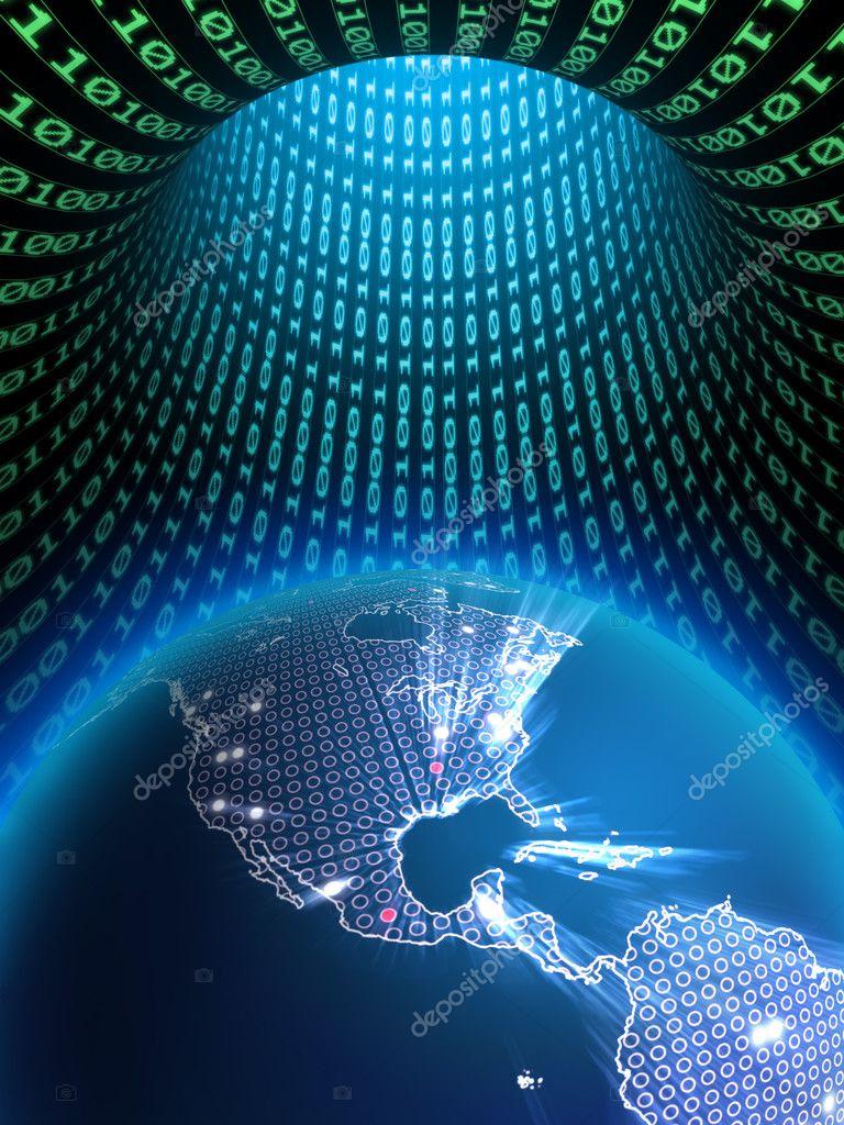 The Earth globe in a binary data tunnel