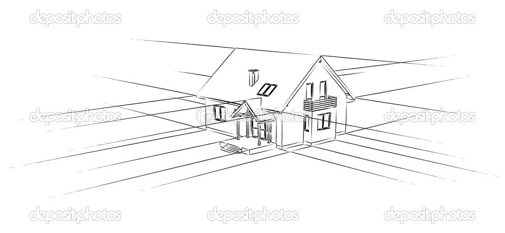 Sketch of a house on a white background. stock vector
