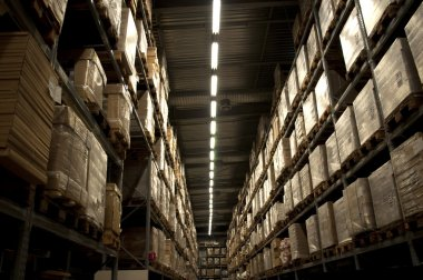Landspace photo of internal warehouse stock vector